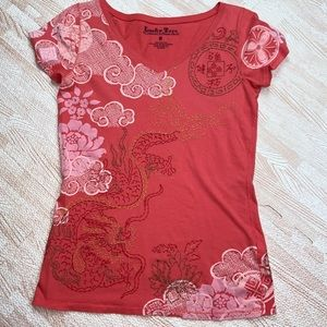 Lucky Brand Embroidered V-Neck Tee